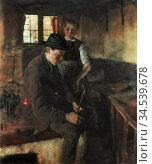 Leibl Wilhelm - in Der Küche I - German School - 19th Century. Редакционное фото, фотограф Artepics / age Fotostock / Фотобанк Лори