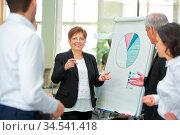 Geschäftsfrau präsentiert Diagramm auf einem Flipchart beim Meeting. Стоковое фото, фотограф Zoonar.com/Robert Kneschke / age Fotostock / Фотобанк Лори