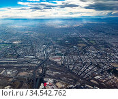 Aerial view on a stormy day over Melbourne Australia. Стоковое фото, фотограф Zoonar.com/Chris Putnam / easy Fotostock / Фотобанк Лори