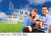 Mixed Race Family with Ghosted House Drawing, Partial Photo and Rolling... Стоковое фото, фотограф Zoonar.com/Andy Dean Photography / age Fotostock / Фотобанк Лори