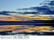 Fabulous mirror sunset. Lake Keret, Northern Karelia, Russia. Стоковое фото, фотограф Сергей Трофименко / Фотобанк Лори