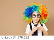 Close-up Portrait of Little boy in clown wig and eyeglasses. Стоковое фото, фотограф Nataliia Zhekova / Фотобанк Лори