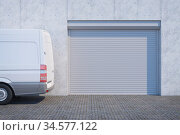 Van near the  garage with closed shutter door. Стоковая иллюстрация, иллюстратор Дмитрий Кутлаев / Фотобанк Лори