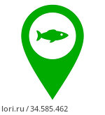 Fisch und Kartenmarkierung - Fish and location pin. Стоковое фото, фотограф Zoonar.com/Robert Biedermann / easy Fotostock / Фотобанк Лори