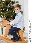Portrait of a cute little boy. Little boy among Christmas decorations. Boy riding a rocking deer. Rocking deer chair for kids. Стоковое фото, фотограф Nataliia Zhekova / Фотобанк Лори