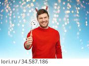 happy man in halloween costume of devil over grey. Стоковое фото, фотограф Syda Productions / Фотобанк Лори