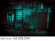 Old scary mystical abandoned wooden house with dark windows, fence and horror style wicket in dramatic paranormal ghostly blue green light of the moon with creepy strange shadows trees and ivy. Стоковое фото, фотограф Светлана Евграфова / Фотобанк Лори