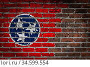 Dark brick wall texture - flag painted on wall - Tennessee. Стоковое фото, фотограф Zoonar.com/Micha Klootwijk / age Fotostock / Фотобанк Лори