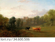 Baker of Leamington Thomas - Landscape with Cattle a Castle Beyond... Стоковое фото, фотограф Artepics / age Fotostock / Фотобанк Лори