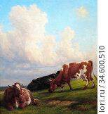 Baker of Leamington Thomas - Open Pastures - British School - 19th... Стоковое фото, фотограф Artepics / age Fotostock / Фотобанк Лори