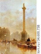 Barton Rose Maynard - Nelson's Column in a Fog - British School - ... Стоковое фото, фотограф Artepics / age Fotostock / Фотобанк Лори