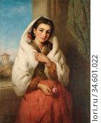 Baxter Charles - the Spanish Rose - British School - 19th Century. Стоковое фото, фотограф Artepics / age Fotostock / Фотобанк Лори