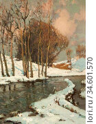 Birch Samuel John Lamorna - Trees in the Snow by a River - British... Стоковое фото, фотограф Artepics / age Fotostock / Фотобанк Лори