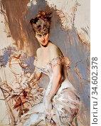 Boldini Giovanni - Alice Regnault - British School - 19th Century. Стоковое фото, фотограф Artepics / age Fotostock / Фотобанк Лори