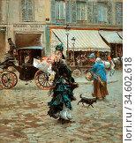 Boldini Giovanni - Crossing the Street - British School - 19th Century... Стоковое фото, фотограф Artepics / age Fotostock / Фотобанк Лори