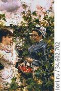 Boldini Giovanni - First Fruits (the Basket of Strawberries) - British... Стоковое фото, фотограф Artepics / age Fotostock / Фотобанк Лори