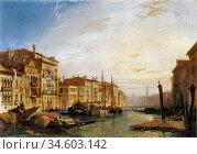 Bonington Richard Parkes - the Grand Canal Venice Sunset - British... Стоковое фото, фотограф Artepics / age Fotostock / Фотобанк Лори