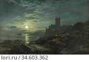 Bough Samuel - Inchcolm Moon Rising - British School - 19th Century. Стоковое фото, фотограф Artepics / age Fotostock / Фотобанк Лори