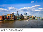London panoramic view and Thames river, UK. Стоковое фото, фотограф Zoonar.com/Laurent Davoust / age Fotostock / Фотобанк Лори