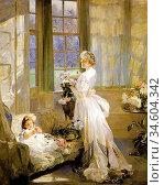 Bramley Frank - Helen Chalmers and Her Mother - British School - ... Стоковое фото, фотограф Artepics / age Fotostock / Фотобанк Лори