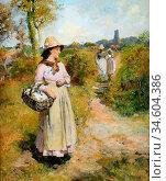 Bramley Frank - Summer Idyll - British School - 19th Century. Стоковое фото, фотограф Artepics / age Fotostock / Фотобанк Лори