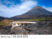 Pico do Fogo and village destroyed by volcanic eruption in Cha das... Стоковое фото, фотограф Zoonar.com/Laurent Davoust / age Fotostock / Фотобанк Лори