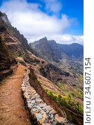 Aerial Hiking trail in Paul Valley, Santo Antao island, Cape Verde... Стоковое фото, фотограф Zoonar.com/Laurent Davoust / age Fotostock / Фотобанк Лори