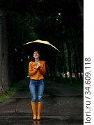 Woman with umbrella, back view, rain in park. Стоковое фото, фотограф Tryapitsyn Sergiy / Фотобанк Лори