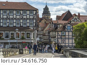 Timber-framed houses in the old part of HanAn. Münden, Lower Saxony... Стоковое фото, фотограф Peter Schickert / age Fotostock / Фотобанк Лори