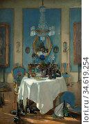 Adam Patrick William - a Chateau in France - British School - 19th... Стоковое фото, фотограф Artepics / age Fotostock / Фотобанк Лори