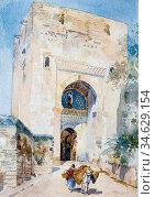 Apperley George Owen Wynne - the Gate of Justice Alhambra 2 - British... Стоковое фото, фотограф Artepics / age Fotostock / Фотобанк Лори
