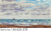 Brett John - Gathering Clouds a Fishing Boat off the Coast - British... Стоковое фото, фотограф Artepics / age Fotostock / Фотобанк Лори