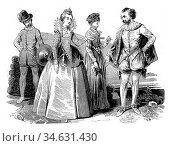 Costumes Elizabethan (1565-1569), vintage engraved illustration. Colorful... Стоковое фото, фотограф Zoonar.com/Patrick Guenette / easy Fotostock / Фотобанк Лори