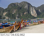 Traditional longtail boats on Hat Hin Khom beach Phi Phi Island Thailand. Стоковое фото, фотограф Andrew Woodley / age Fotostock / Фотобанк Лори