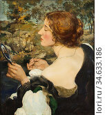 Burns Robert - the Mirror - British School - 19th Century. Стоковое фото, фотограф Artepics / age Fotostock / Фотобанк Лори