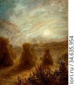 Cartlidge George - Moon Rising over a Field of Corn Stooks - British... Стоковое фото, фотограф Artepics / age Fotostock / Фотобанк Лори