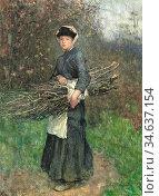 Clausen George - Gathering Firewood - British School - 19th Century. Стоковое фото, фотограф Artepics / age Fotostock / Фотобанк Лори