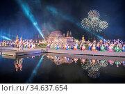 A light show at the Wat Mahathat Temple on the Loy Krathong Festival... Стоковое фото, фотограф Zoonar.com/URS FLUEELER / age Fotostock / Фотобанк Лори