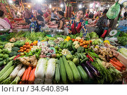 The vegetable market at the old market of Phsar chas in the city ... Стоковое фото, фотограф Zoonar.com/Urs Flueeler / age Fotostock / Фотобанк Лори