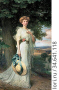 Dicksee Frank - Joan Marion Neville - British School - 19th Century. Стоковое фото, фотограф Artepics / age Fotostock / Фотобанк Лори
