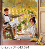 Corcos Vittorio Matteo - an Afternoono on the Porch - French School... Стоковое фото, фотограф Artepics / age Fotostock / Фотобанк Лори