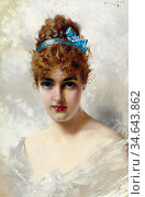 Corcos Vittorio Matteo - Portrait of a Young Woman in White - French... Стоковое фото, фотограф Artepics / age Fotostock / Фотобанк Лори