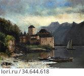 Courbet Gustave - Chateau De Chillon 4 - French School - 19th Century. Стоковое фото, фотограф Artepics / age Fotostock / Фотобанк Лори