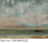 Courbet Gustave - Clouds over Lake Geneva - French School - 19th ... Стоковое фото, фотограф Artepics / age Fotostock / Фотобанк Лори