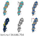 Karten von Schweden mit verschiedenen Wettersymbolen - Maps of Sweden... Стоковое фото, фотограф Zoonar.com/lantapix / easy Fotostock / Фотобанк Лори