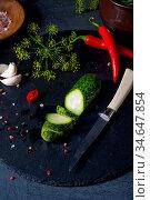 Rustic fresh pickled cucumber (polish malosolne) Стоковое фото, фотограф Zoonar.com/Darius Dzinnik / easy Fotostock / Фотобанк Лори