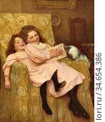 Gore William Henry - Teasing the Cat - British School - 19th Century. Стоковое фото, фотограф Artepics / age Fotostock / Фотобанк Лори