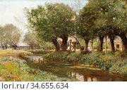 Murray David - Cattle by a Stream - British School - 19th Century. Редакционное фото, фотограф Artepics / age Fotostock / Фотобанк Лори