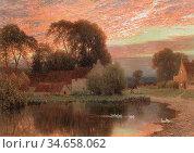 Palmer Harry Sutton - the Village Pond at Dusk - British School - ... Редакционное фото, фотограф Artepics / age Fotostock / Фотобанк Лори