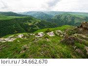 Panoramic view of the Bermamyt Plateau. Стоковое фото, фотограф Юлия Белоусова / Фотобанк Лори